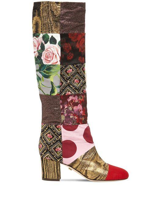 Dolce & Gabbana Multicolor 60mm Hohe Stiefel Aus Canvaspatchwork