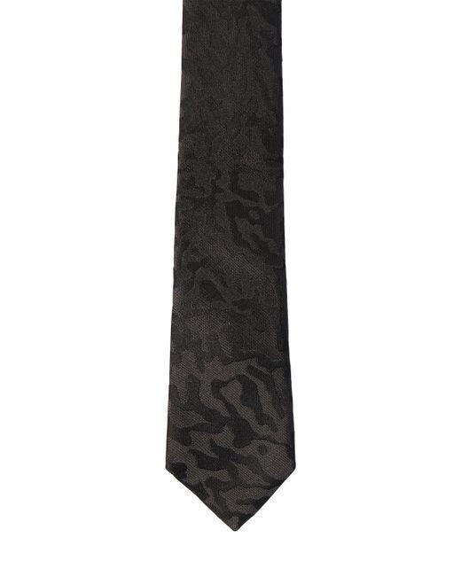 メンズ Saint Laurent ジャカードシルクタイ 4cm Black