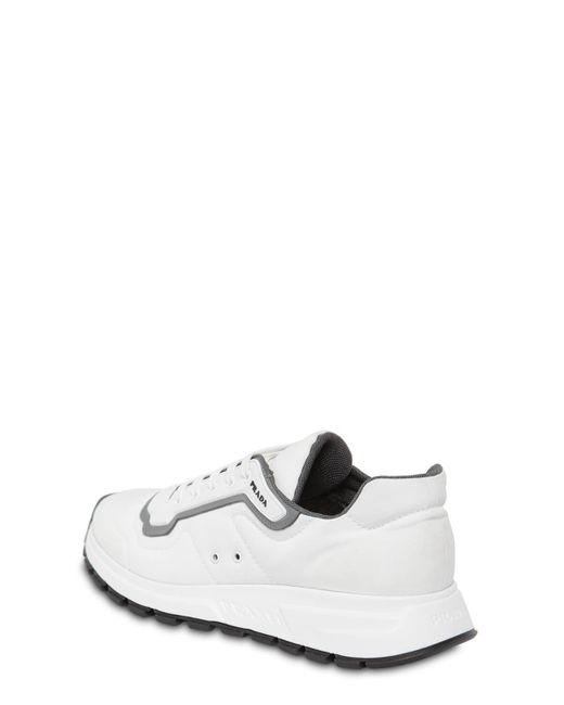 Prada Match Race Nylon Gabardine Sneakers in White for Men