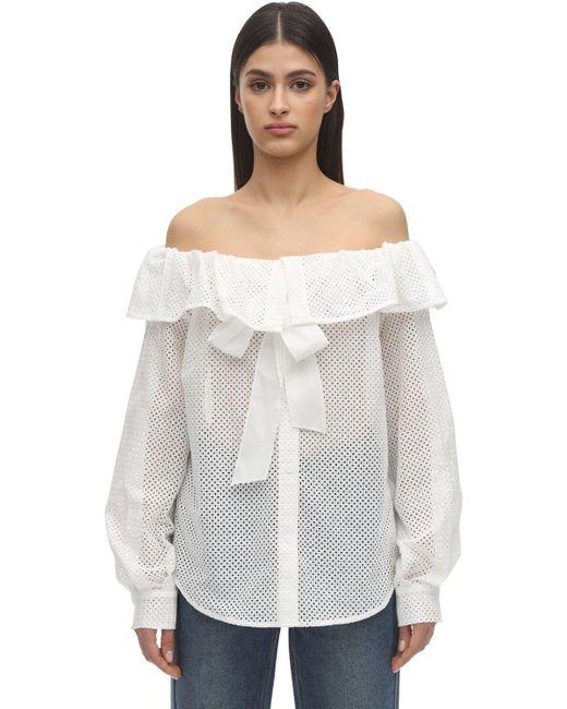 Pushbutton オフショルダーコットンアイレットシャツ White