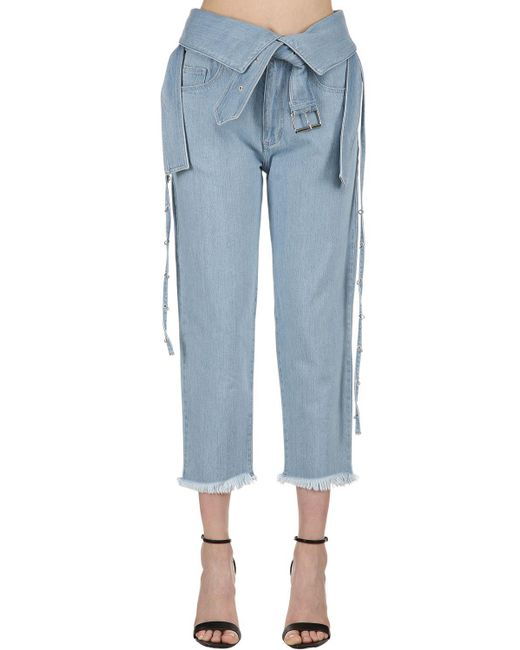 Marques'Almeida - Blue Belted Washed Denim Jeans - Lyst