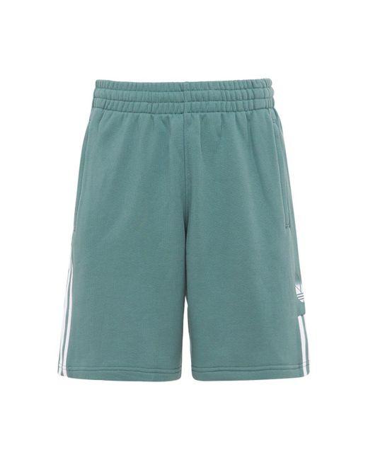 メンズ Adidas Originals 3d Trefoil 3 Stripes コットンスウェットハーフパンツ Green
