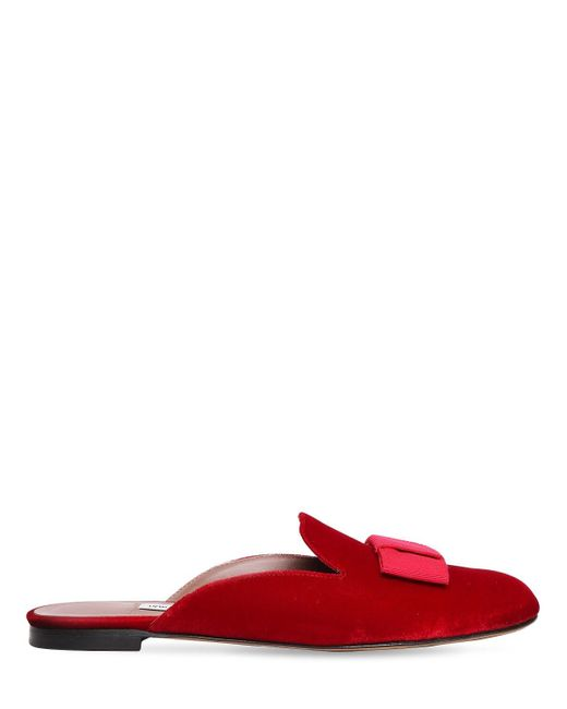 Tabitha Simmons 10mm Masha リボン付きベルベットミュール Red
