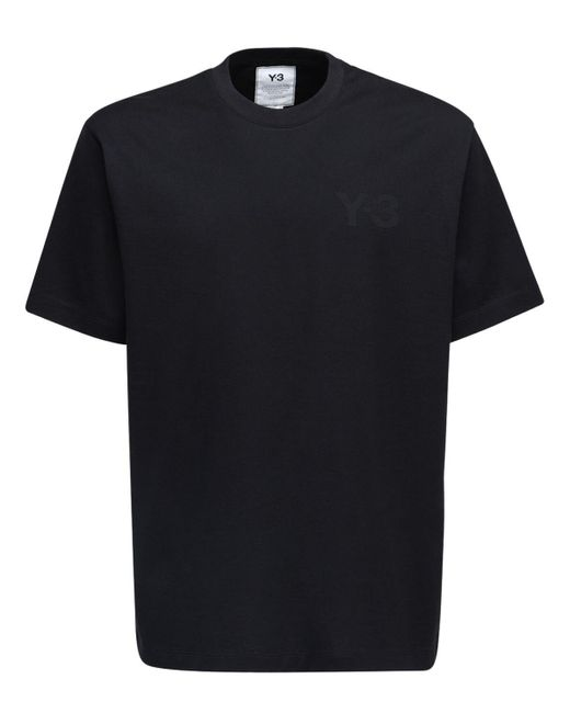 メンズ Y-3 ロゴ コットンジャージーtシャツ Black