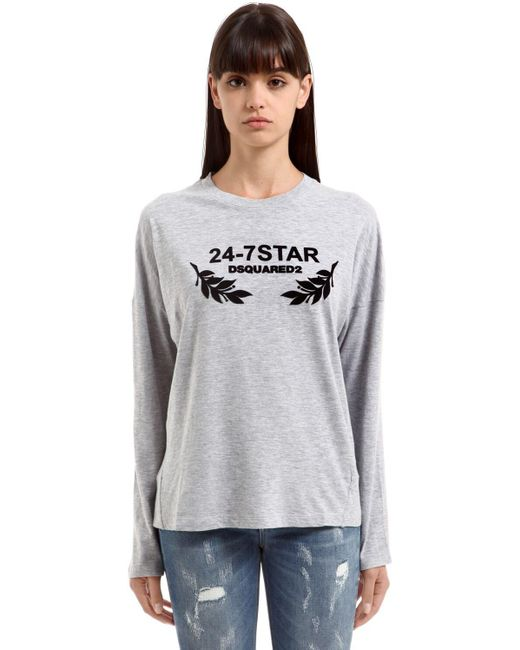 DSquared² Gray Flock Printed Cotton Jersey T-shirt
