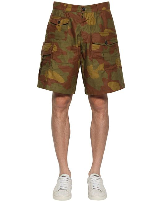 "Shorts Cargo ""boxer"" De Algodón 33.5cm DSquared² de hombre de color Green"
