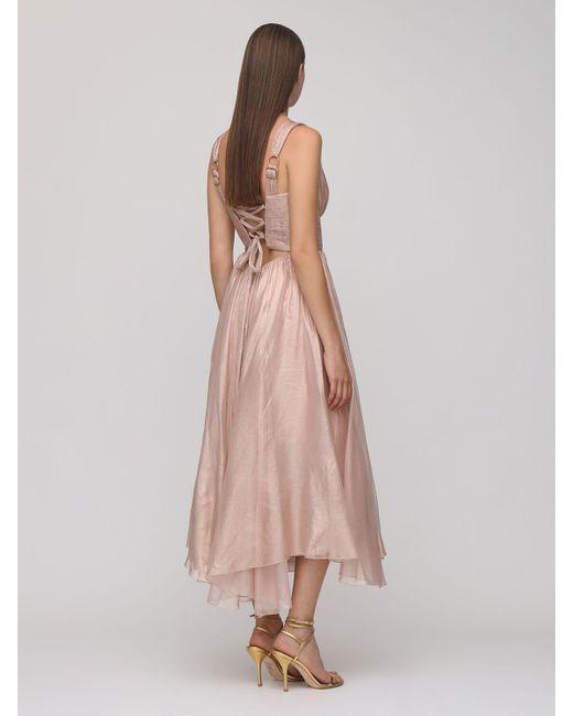 Maria Lucia Hohan Sorena メタリックシルクドレス Pink