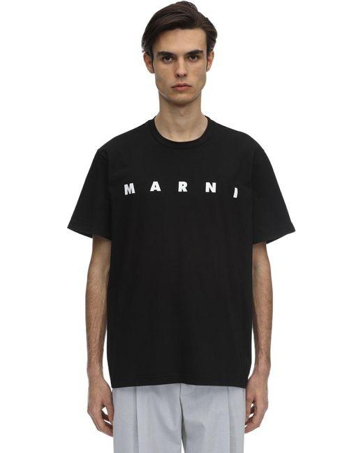 メンズ Marni ブラック フロント ロゴ T シャツ Black