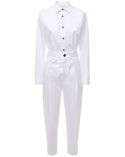 DSquared² ストレッチコットンデニムジャンプスーツ White