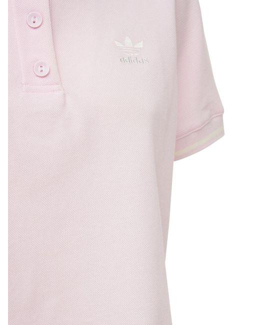 Adidas Originals クロップドコットンブレンドポロ Pink
