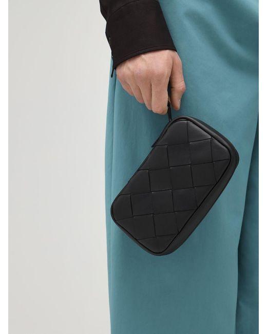 メンズ Bottega Veneta Intrecciato 30 レザーポーチ Black