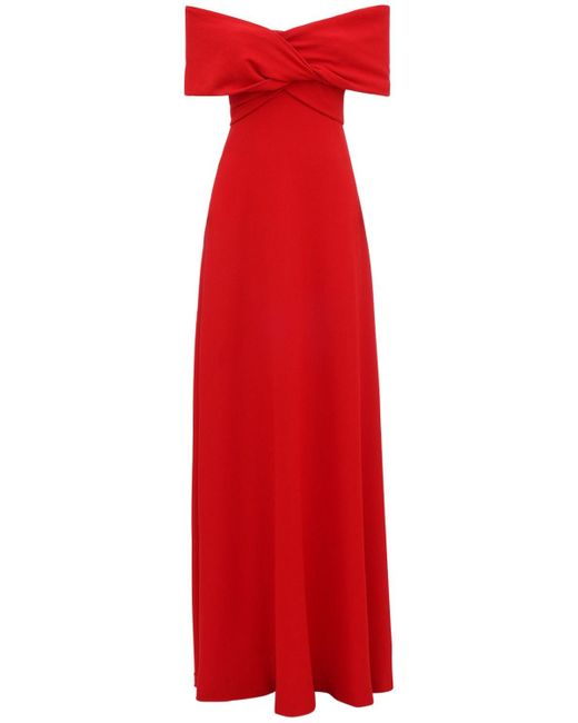 Giambattista Valli オフショルダークレープドレス Red