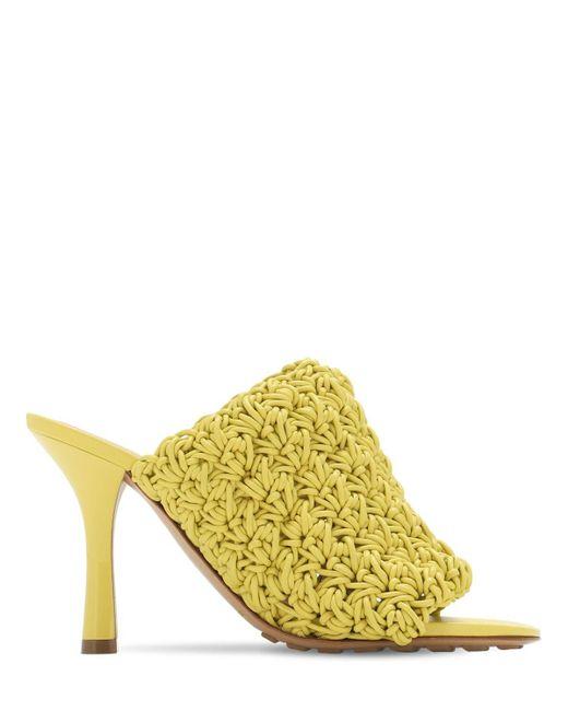 """Bottega Veneta Yellow 90mm Sandaletten Aus Gewebtem Leder """"bv Board"""""""
