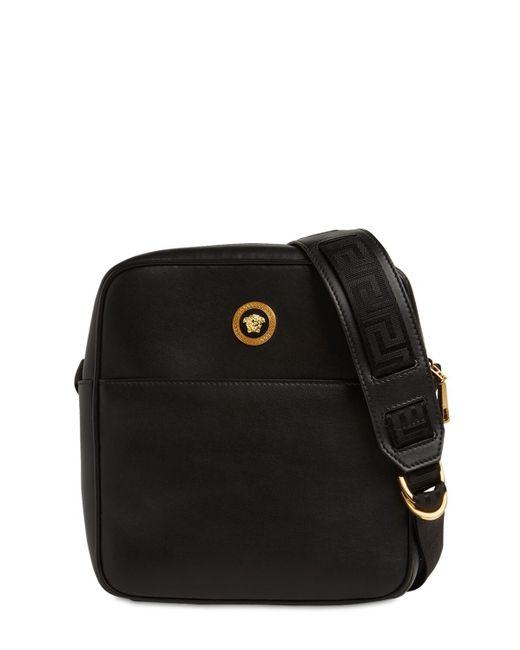 Кожаная Сумка Через Плечо Versace для него, цвет: Black