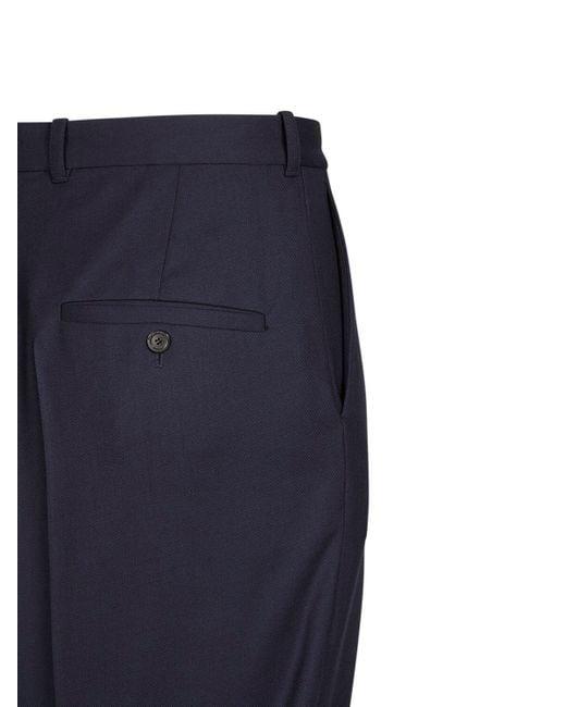 メンズ Balenciaga オーバーサイズテーラードウールツイルパンツ Blue