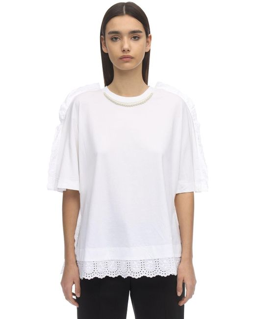 Simone Rocha White T-shirt Aus Baumwolle Mit Perlenimitat