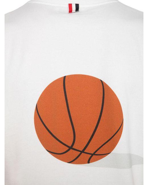 Футболка Из Хлопкового Джерси С Принтом Thom Browne для него, цвет: White