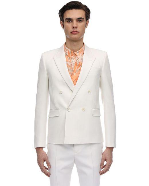 Двубортный Шерстяной Пиджак Saint Laurent для него, цвет: White