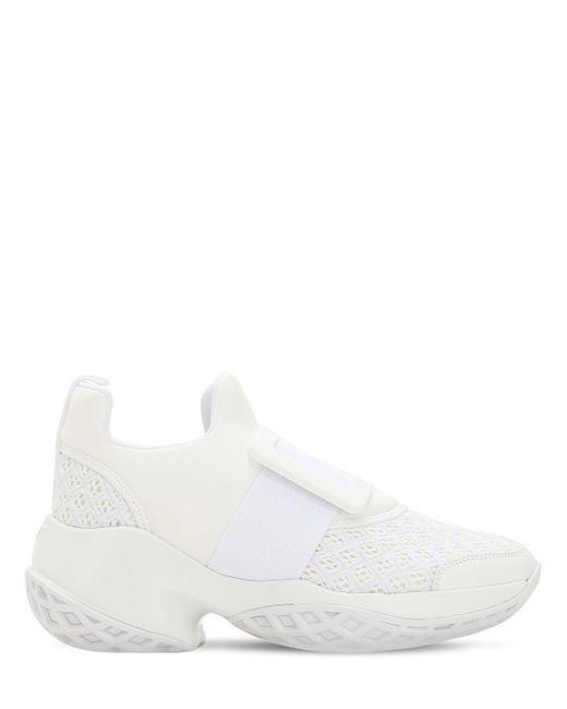 Roger Vivier White 75mm Viv Run Buckle Mesh Sneakers