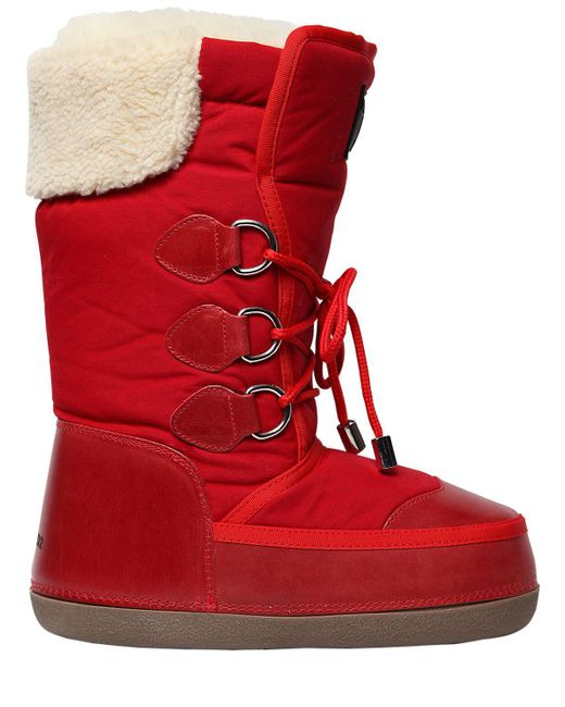 DSquared² | Red Nylon & Leather Snow Boots | Lyst