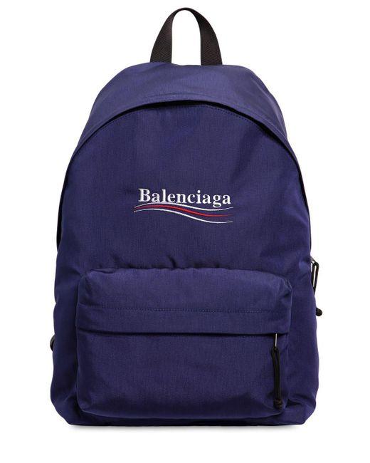 Balenciaga - Blue Nylonrucksack Mit Political-logo for Men - Lyst