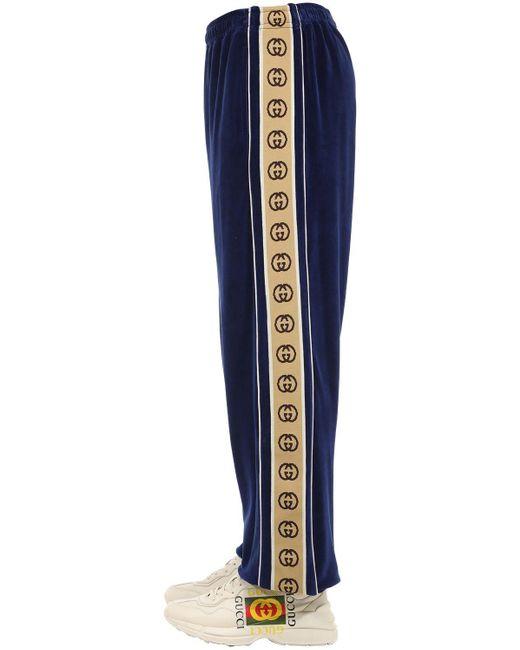 Pantaloni In Misto Cotone di Gucci in Blue da Uomo