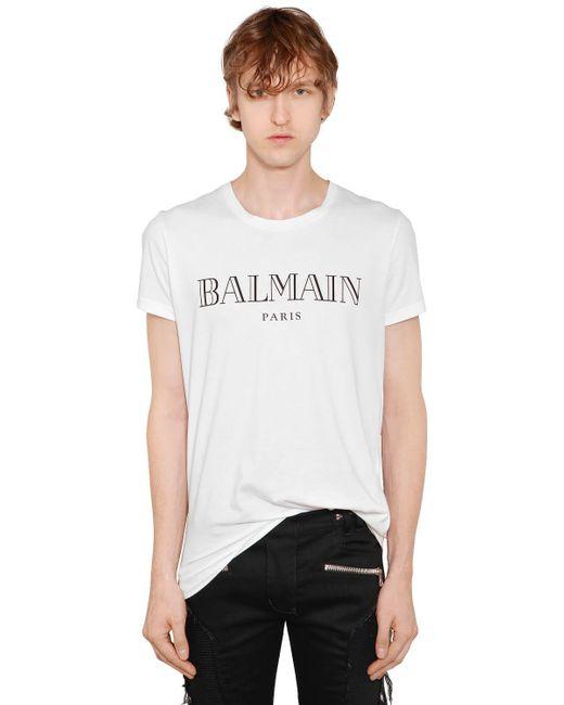 Lyst Balmain Logo Printed Cotton Jersey T Shirt In White
