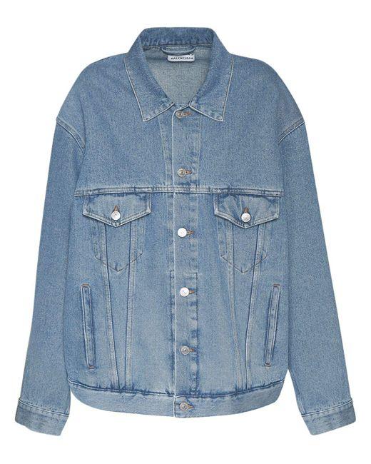 Куртка Из Хлопкового Денима Balenciaga, цвет: Blue