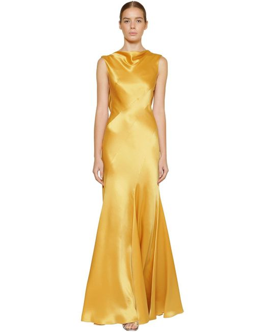 Robe Longue En Satin De Soie Alberta Ferretti en coloris Metallic