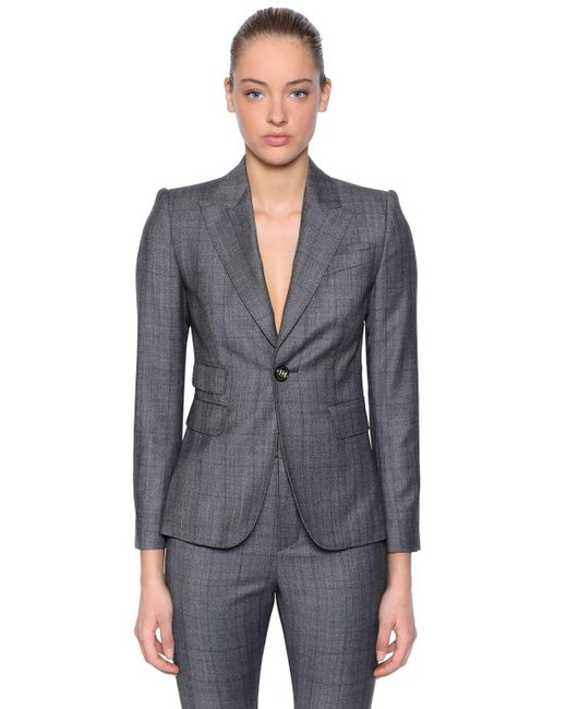 DSquared² Gray Wool Prince Of Wales Suit