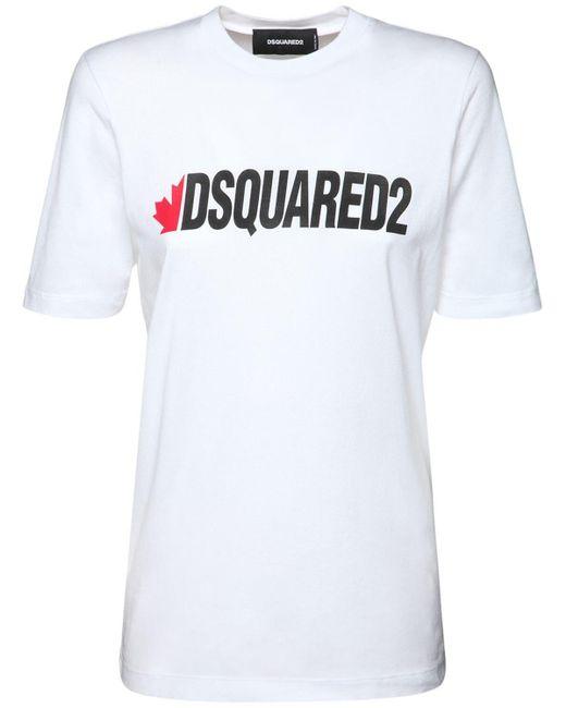 "T-shirt ""d2 Renny"" In Jersey Di Cotone di DSquared² in White"