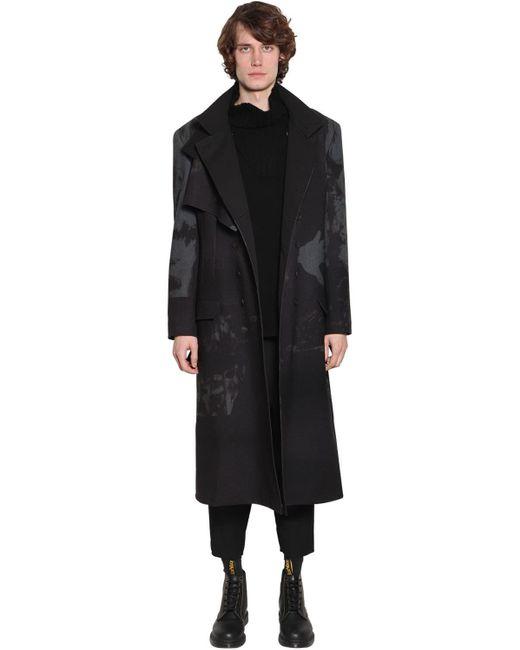 Шерстяное Пальто С Принтом Yohji Yamamoto для него, цвет: Black
