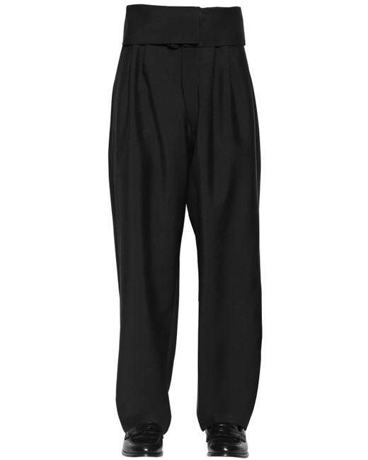 メンズ Loewe モヘア&ウール オーバーサイズベルテッドパンツ Black