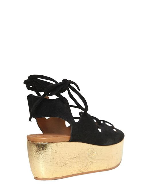 3c4d29c73057 ... See By Chloé - Black 70mm Suede Lace-up Wedges - Lyst ...