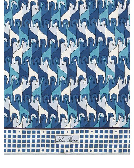 Шёлковый Платок С Принтом Loro Piana, цвет: Blue