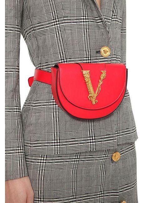 Versace スムースレザー ベルトバッグ Red