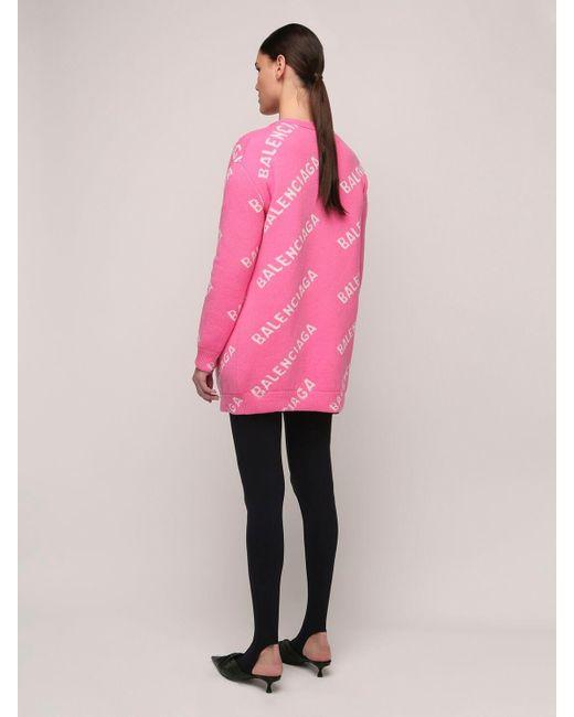 Balenciaga オーバーサイズウールブレンドカーディガン Pink