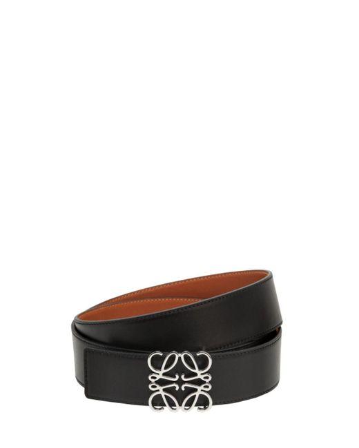 メンズ Loewe Anagram リバーシブルレザーベルト 4cm Black