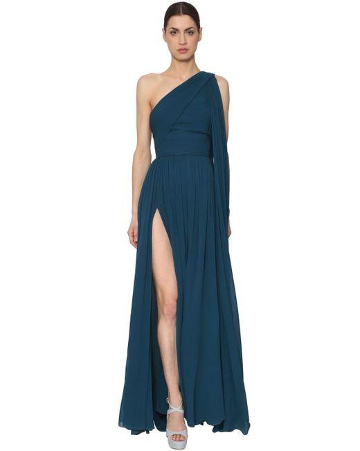 Vestito In Crepe Georgette di Elie Saab in Blue