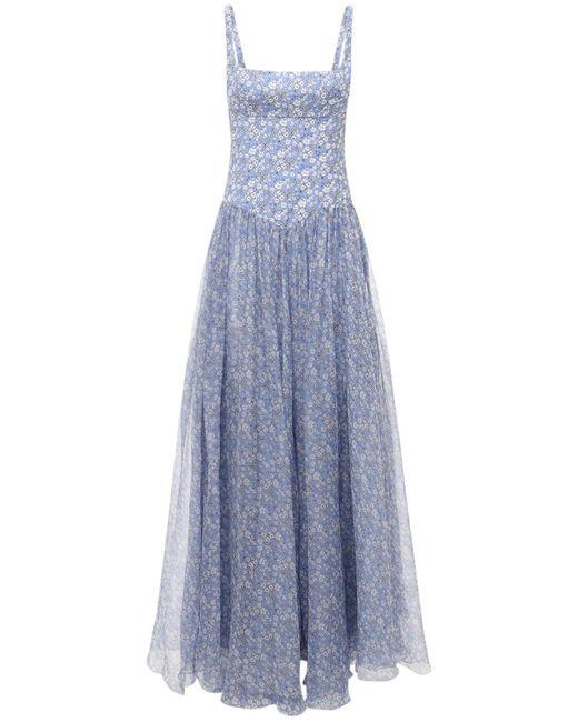 Giovanni bedin シルククレープドレス Blue
