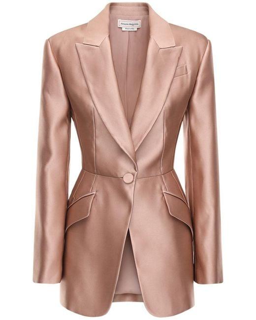Alexander McQueen ダブルドゥシェスシルクジャケット Pink