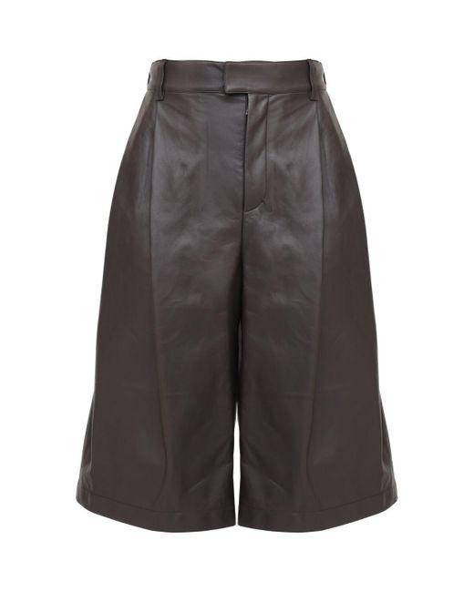Bottega Veneta Black Leather Shorts for men