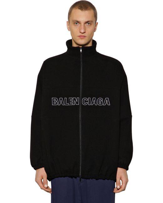 メンズ Balenciaga ウール ロゴ刺繍 ジップアップジャケット Black