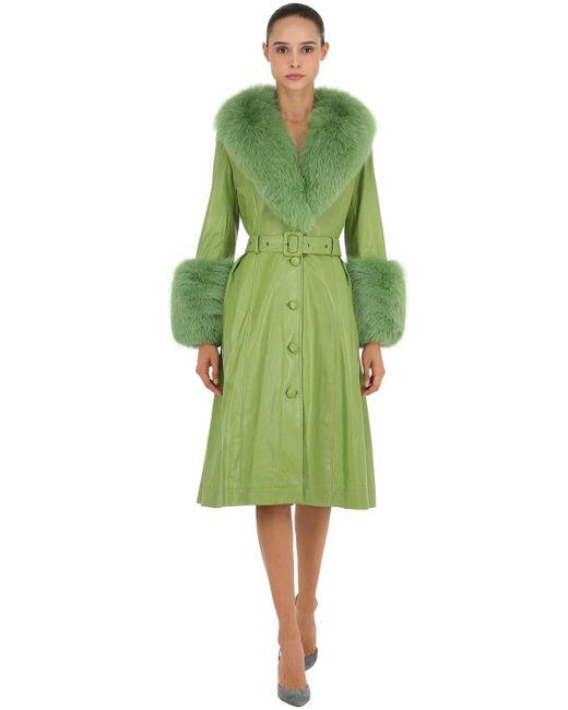 Saks Potts Green Foxy Leather Coat W/ Fox Fur