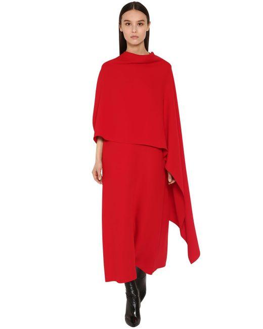 Valentino シルクカディ ロングケープドレス Red