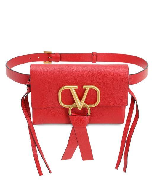 Valentino Garavani Valentino Garavani V Ring スムースレザー ウェストバッグ Red