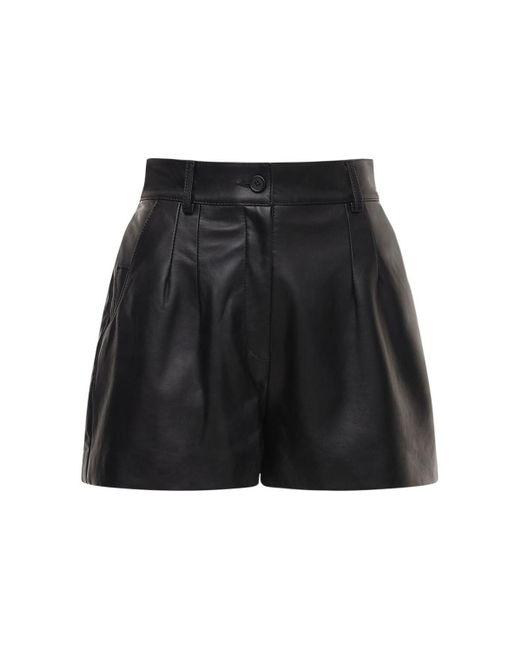 Dolce & Gabbana ハイウエストレザーショートパンツ Black