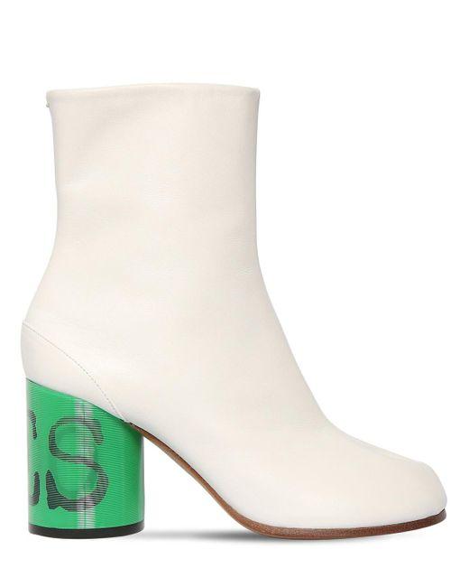 80mm Tabi Leather Boots Maison Margiela, цвет: White