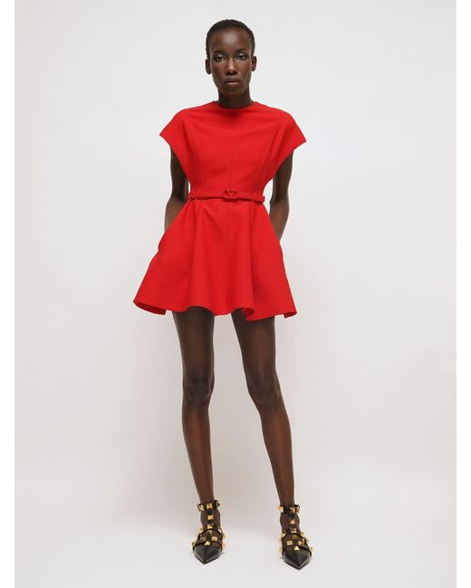 Valentino Couture ウール&シルククレープミニドレス Red
