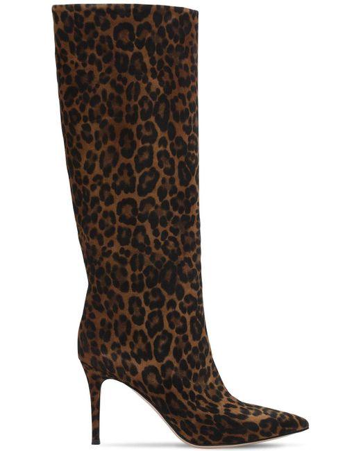 Сапоги Из Замши С Леопардовым Принтом Gianvito Rossi, цвет: Brown
